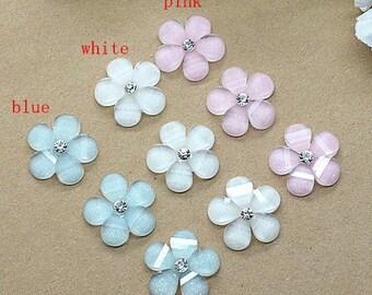 30pcs/pack 15mm resin kawaii cute shine rhinestone flower flatback cabochon free shipping