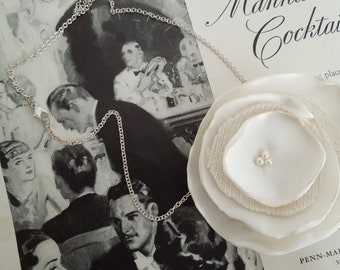 Simply Sweet Collection- Ivory Satin and Cashmere Poppy 22in Necklace