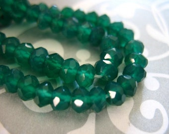 Shop Sale... GREEN ONYX Rondelles Beads, Luxe AAA, 1/2 Strand, 3.5-4 mm, Emerald Kelly Green may birthstone, wholesale beads