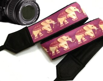 Lucky Elephants Camera Strap. Ethnic Camera Strap,  Accessories