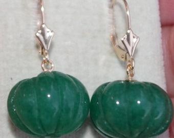 Vintage 14k Carved 27MM  Emerald Leve Back  Earrings  FREE Ship USA