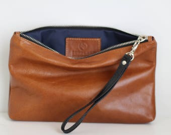 Tan Leather clutch, Leather clutch bag, leather purse, Mothers day gift, leather tote, leather handbag, leather bag, gift for her