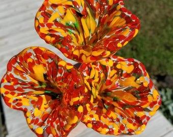 Handmade Orange Glass Flowers