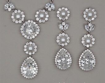 Bridal Jewelry Set,Pearl Bridal Necklace, Bridal Earrings, Crystal Wedding Necklace, Swarovski Crystal Necklace,Wedding Jewelry Sets