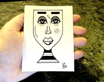 Imara. sticker-abstract face drawing-black+white-modern art-illustration-ink