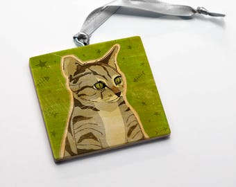 Pet Gift, Gray Tabby Cat Ornament, Cute Cat Gifts, Cat Christmas Ornament, Cat Gifts for Girls, Gift, Cat Lovers Gift for Her