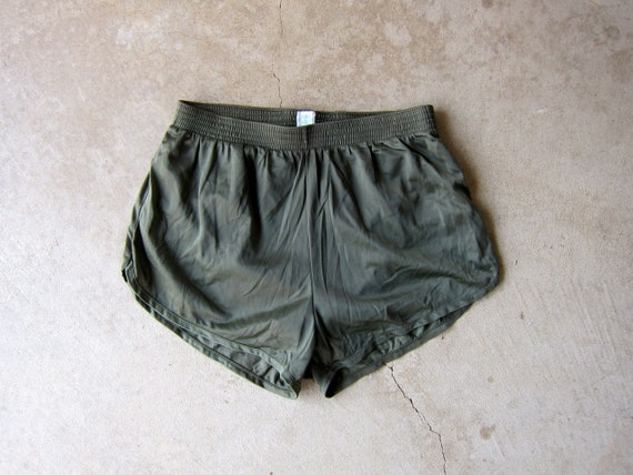 Army Green Nylon Running Shorts Elastic Waist Athletic Booty Shorts Summer Resort Vacation Wear 80s Sporty Lounge Shorts Women's XS XXS
