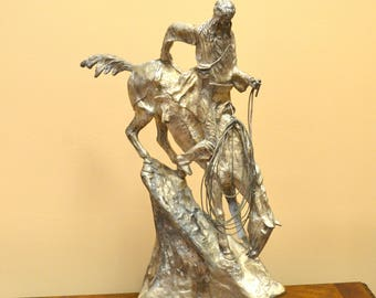 Mountain Man Statue-Bronze With Silver Finish