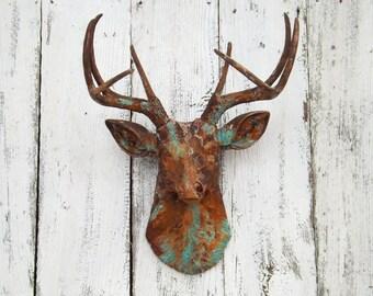 Rustic Deer Head,Living Room,Deer Head Wall Decor,Farmhouse Decor,Rustic Wall Decor,Deer Gifts,Antler Gifts