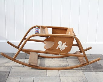 Vintage Children's Oak Wood Rocker From Happy Playthings Manufactured by the Delphos Bending Co. Made in USA Wood Bead Abacus Rocking Horse