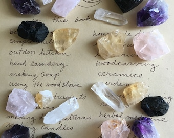 Raw Crystals and Stones  - Raw Crystals - Raw Amethyst  - Black Tourmaline  - Rose Quartz - Citrine - Healing Crystals