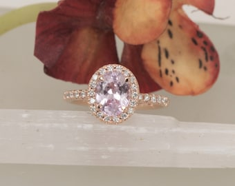 Pink Sapphire Rose Gold Ring With 1.75ct Oval Precision Cut Sapphire
