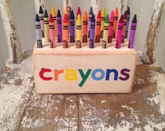 Vintage Inspired Wood Crayon Holder great for storing your child's crayons and makes a great birthday party gift!