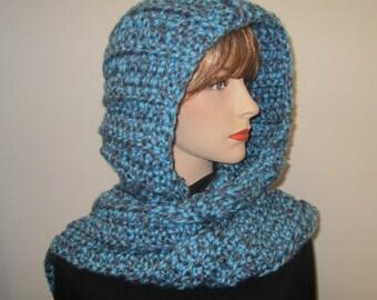 Denim and Sky Blue Hooded Scarf, Long Fall Scarf, Hoodie Scarf, Blue Scarf, Crochet Hoodie, Oversized Scarf, Elizabeth B4-047