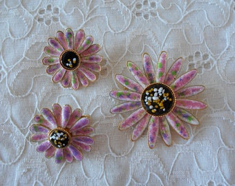 Pink Confetti Enamel Flower Pin and Earring Set