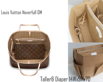 Taller and Diaper Purse organizer for Louis Vuitton Neverful GM in Sand fabric - Diaper Bag organizer