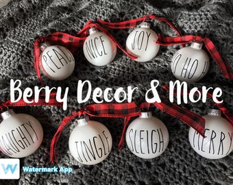 Custom made ornaments, Rae Dunn inspired Ornaments, Farmhouse Christmas Ornaments