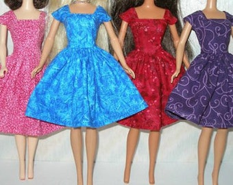 """Handmade 11.5"""" fashion doll clothes - Choose 1 - pink, blue, red or purple vintage style dress"""