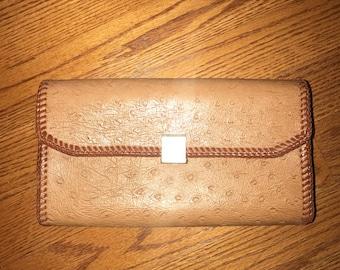 Vintage Faux Ostrich Leather Clutch