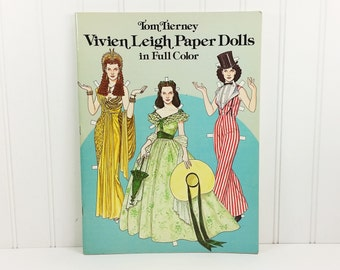 Vivien Leigh Paper Dolls in Full Color by Tom Tierney, 1981 Dover Book 1940's Hollywood Actress