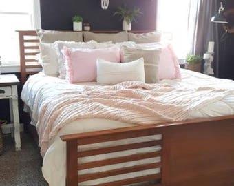 Pink ruffle bed pillows