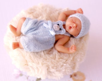 Clothes for Camille Allen baby doll Mini doll clothes Baby Boy Blue  Outfit Miniature knitting 4 inches baby doll Newborn doll clothing