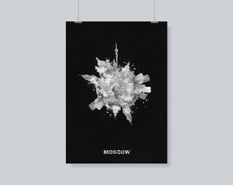 B&W Moscow Skyline / Cityscape Travel Poster as A Souvenir / Gift Idea, Moscow, Russia  Skyline/Skyround Wall Art Print