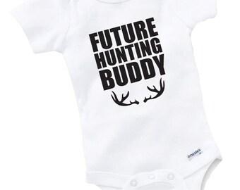 Future Hunting Buddy Onesie Bodysuit Baby Shower Gift Funny Boy Girl Family Hunting Deer Hunter