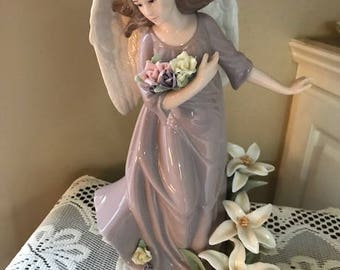 Vintage Porcelain Angel Figurine with Lillies - hand painted