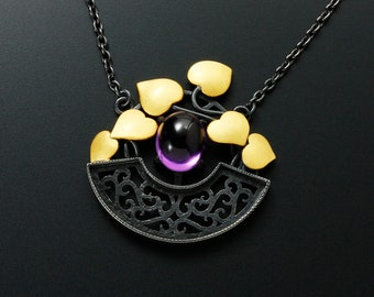 Keum Boo Gold leaves and amethyst cab necklace, arabesque openwork necklace, oxidized silver necklace