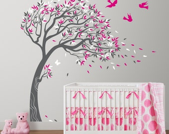Tree with Birds and Butterflies Mural Vinyl Wall Decal Sticker for Nursery, Girl's Room or Playroom