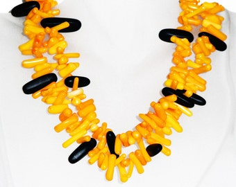 Yellow Coral (dyed) and Black Onyx Double Strand Necklace 166