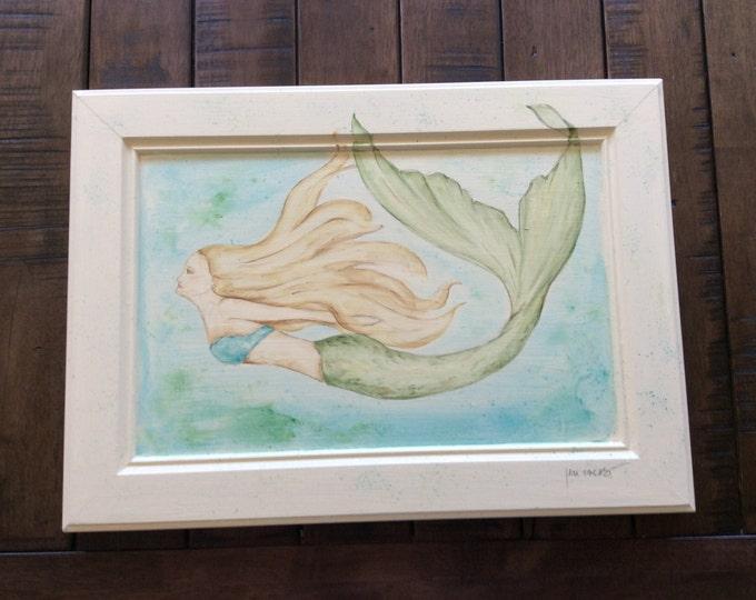 SALE 20 percent off was 125 NOW 100 Original OOAK watercolor mermaid swimming painting, mermaid painting, watercolor painting, repurposed