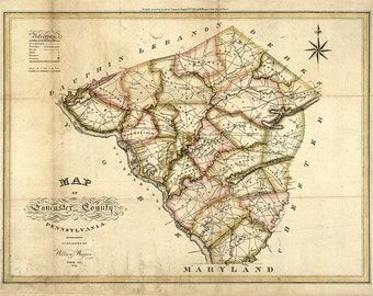 Map of Lancaster County, Pennsylvania, PA 1821. Restoration Hardware Home Deco Style Old Wall Vintage Giclee Reproduction.