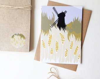 Windmill Illustrated Greetings card, note card - paper cut design - Autumnal and rural feel, based on Brixton Windmill in South London