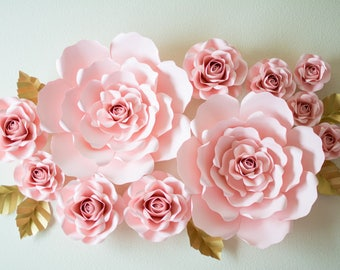 Paper Flower Backdrop (Paper Roses) -  Bridal Shower, Wedding, Party, Nursery, Backdrop