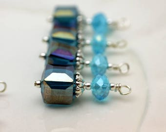Peacock Blue AB Square Cube Crystal and Aqua Rondelle Earring Dangle, Pendant, Earrings, Jewelry Making