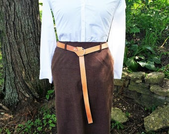 Narrow utility belt - custom made belt - natural leather o-ring belt - fashion accessory - leather accessories - skinny belt - gift for her