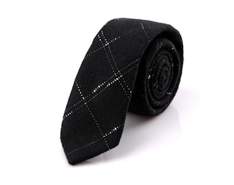 Mens Gift.Mens Neckties.Black Wool Ties With White Stripes.Wedding Accessories.