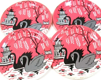 "Swans, 1956 Tin Toy tea saucers, Black & Gray BIRDS, set of 4 matching, 2 1/2""."