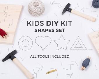 Kids DIY string art kit / SHAPES SET / circle, heart, star triangle / educational toy / kids craft kit / kids toys / gift for kids