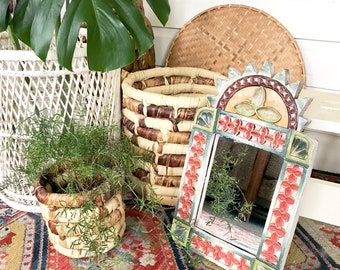 Vintage Carved Wood Mirror • Morrocan Mirror Colorful Boho Decor