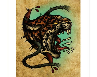 Leopard - The Beasts Within Series, Neo-Traditional Tattoo Flash, Old School, Art Print 12x16