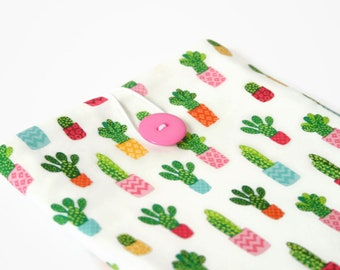 iPad Mini 4 Sleeve, Cacti Gift for Her, Custom Padded Tablet Case - Pink Cactus