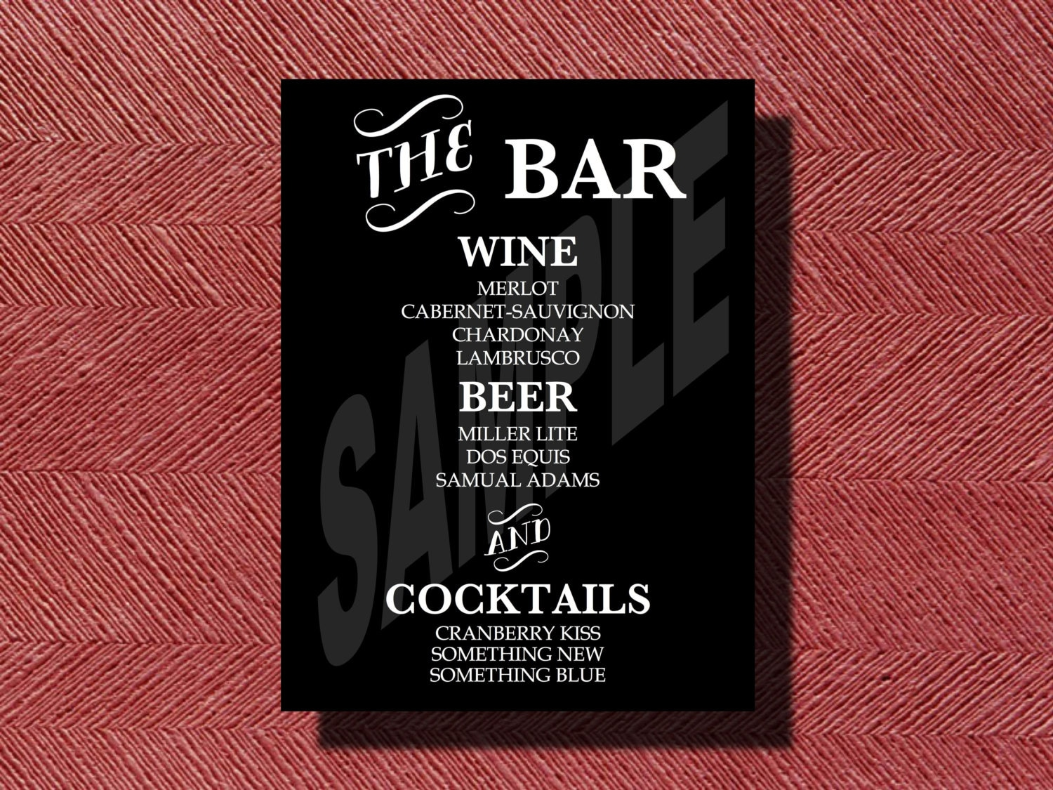 Wedding Reception Bar Menu Sign Printable Bar Menu Sign for
