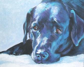 "black LABRADOR RETRIEVER dog art portrait canvas PRINT of LAShepard painting 8x10"""