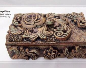 Baroque Bronze Jewelry Box- Vintage Box - Small Wooden Box- Jewelry Box- Anniversary Box- Christmas Gift Box- Vintage Box- Girls Jewelry Box