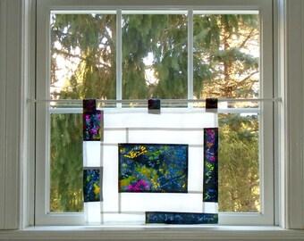 Lily Pond ~ Stained Glass-Look Pojagi Batik Window Treatment / bohemian cafe curtain / dorm / boudoir / hippie curtain/ fiber art