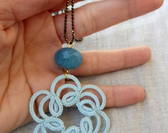 Baby blue tatted necklace pendant  , tatted pendant , tatted jewelry , lace necklace