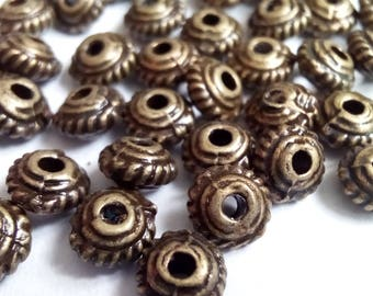 100 donut 5x3mm bronze metal beads